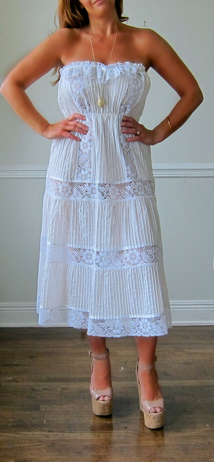 Stunning White Cotton Strapless Gown with Lace Insets
