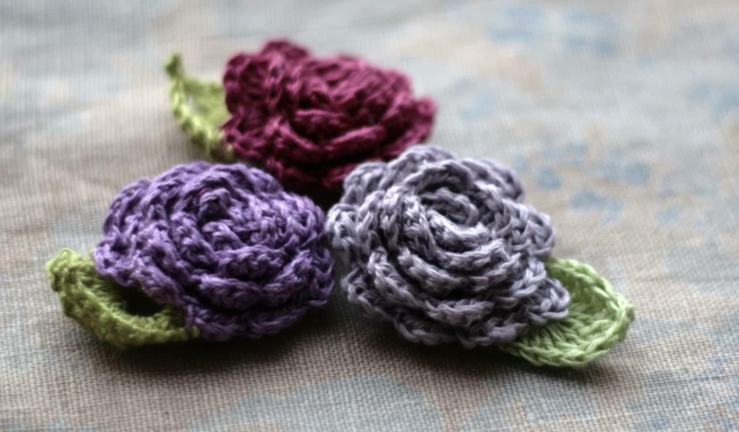 Crochet Linen Flowers Brooches - set of 3