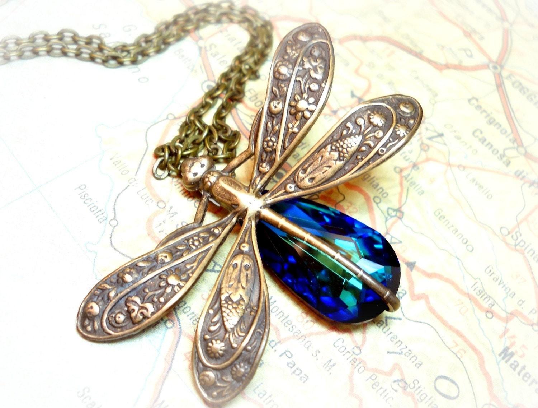 Mystical Dragonfly- Swarovski Bermuda Blue Crystal Antique Brass Necklace