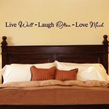 Live Well Laugh Often Love Much vinyl lettering home decor wall sayings art 3 x 38