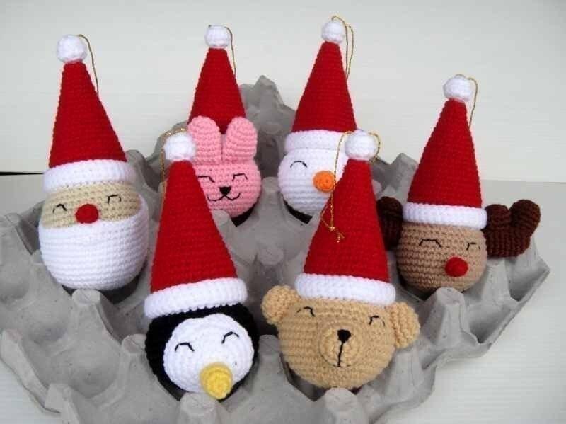 Новогодние игрушки крючком фото