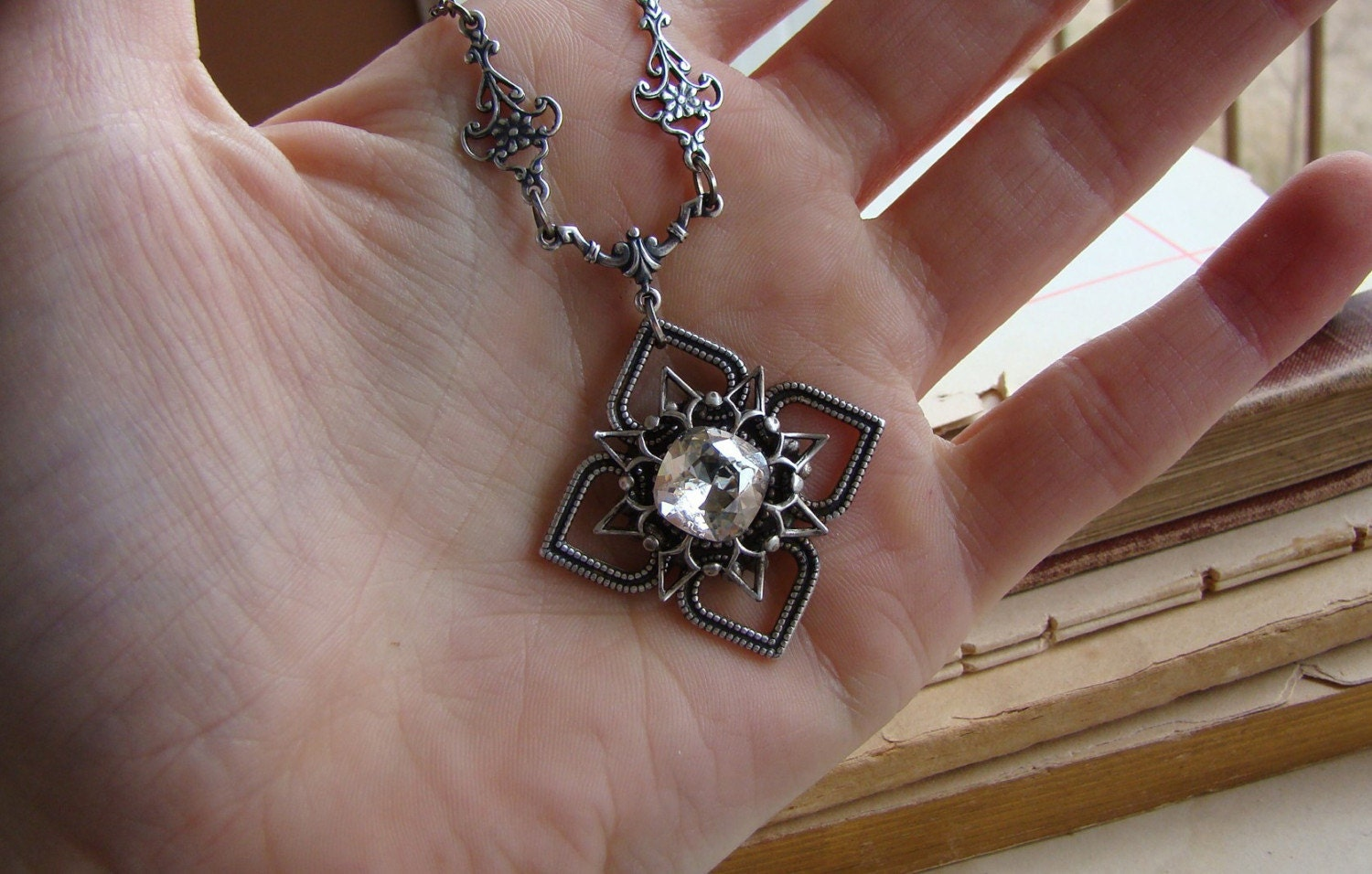 Stardust - Silver Swarovski Jewel and Filigree Victorian Necklace
