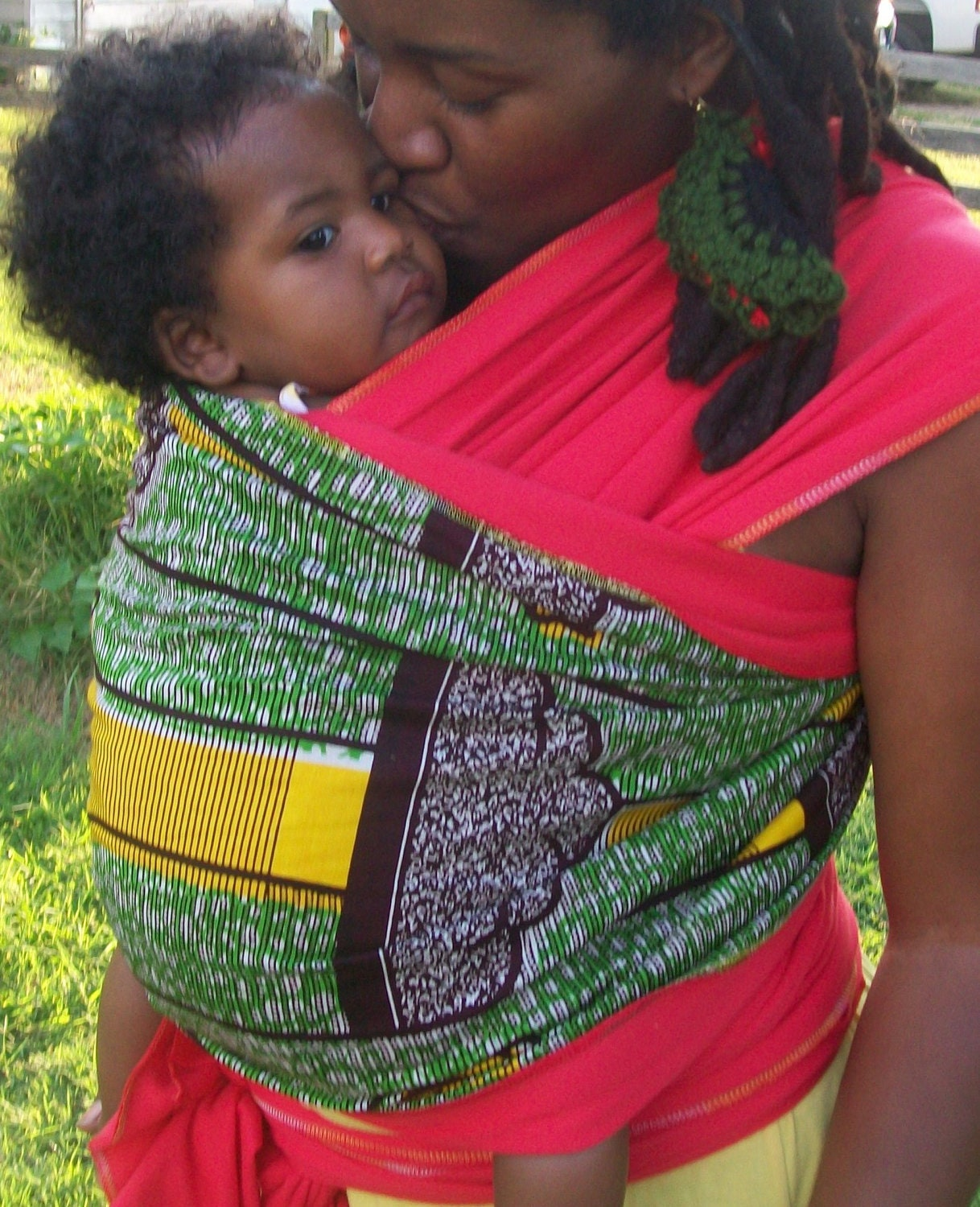Red Green and Gold Wax Print Baby Wrap