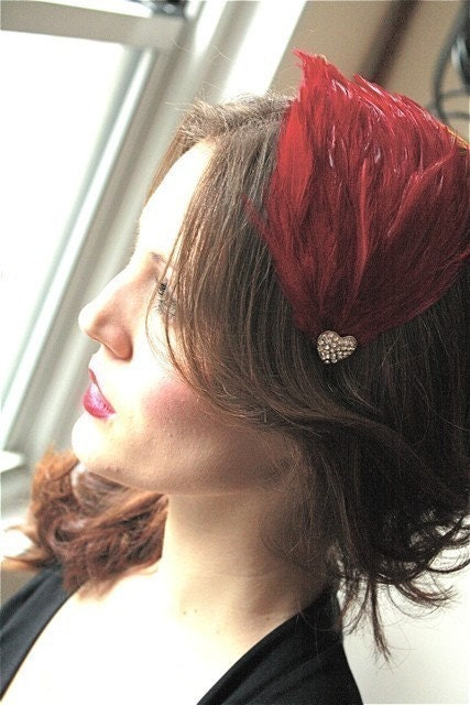 Stunning Red Feathered Fascinator Headband