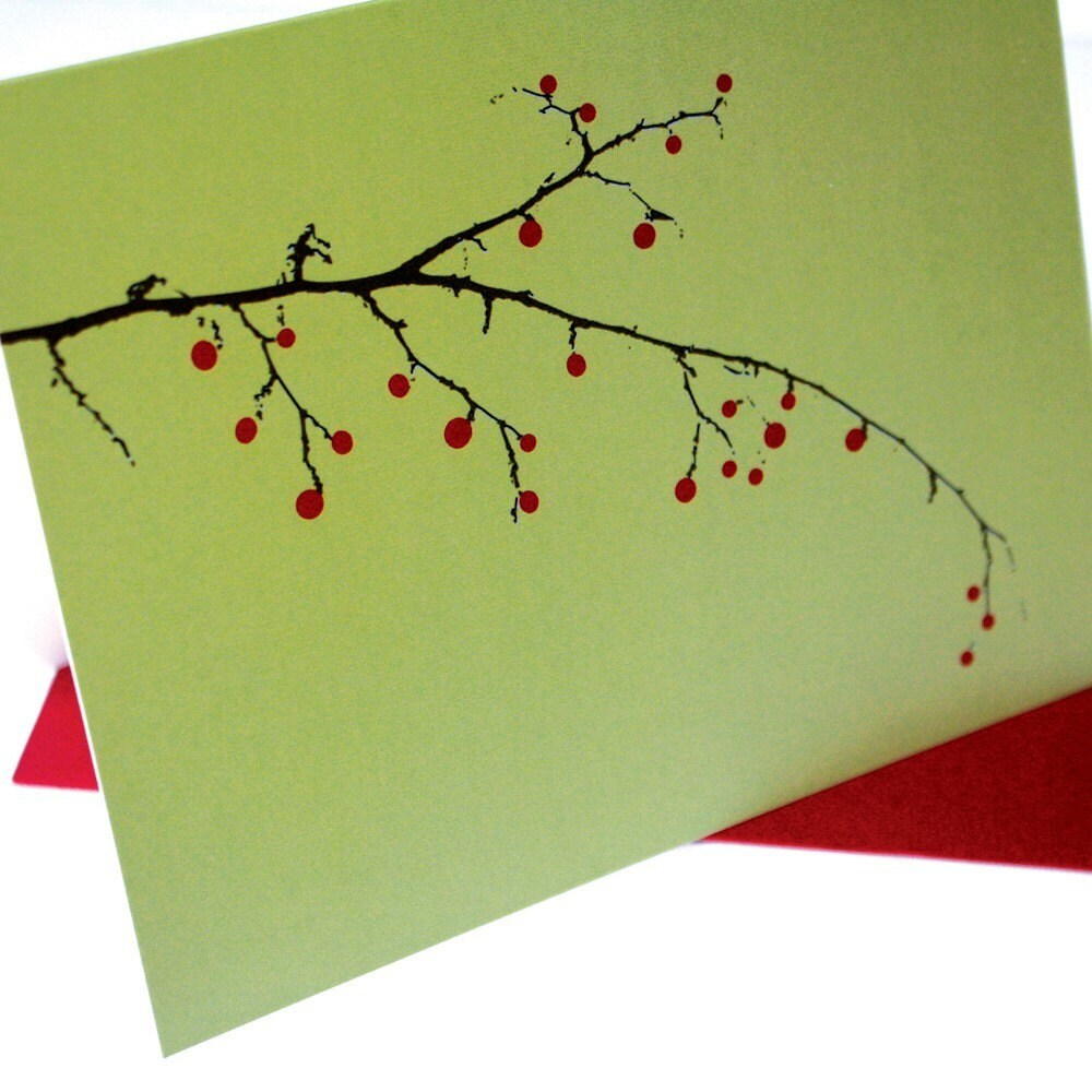 Berry Branch Cards - set of 8 in olive