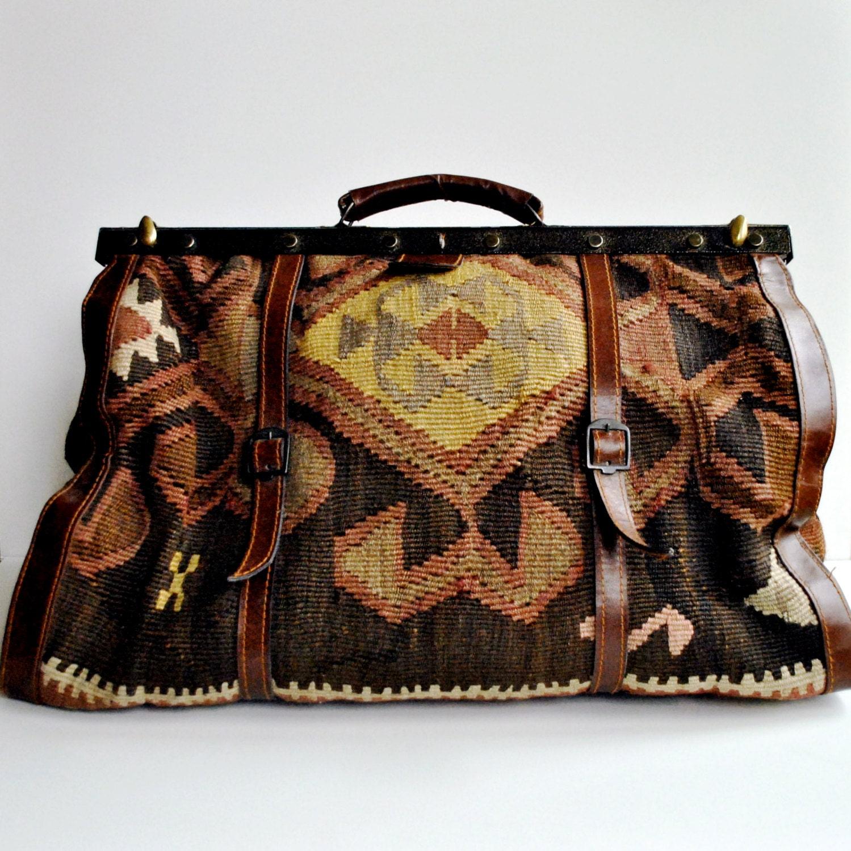 Kilim Carpet Bag Large Overnight Luggage By Daisychainvintage