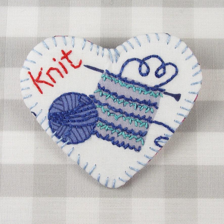 Вязание Любовь маркера Pin Броши (синий)