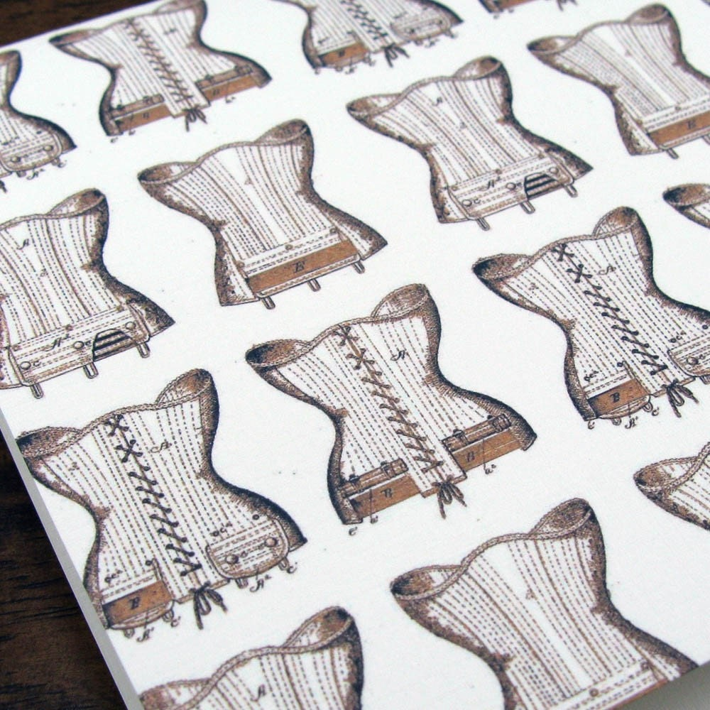 The Ties That Bind -- Simple and Sassy Vintage Corset Print Blank Notecard -- Boxed Set of 8