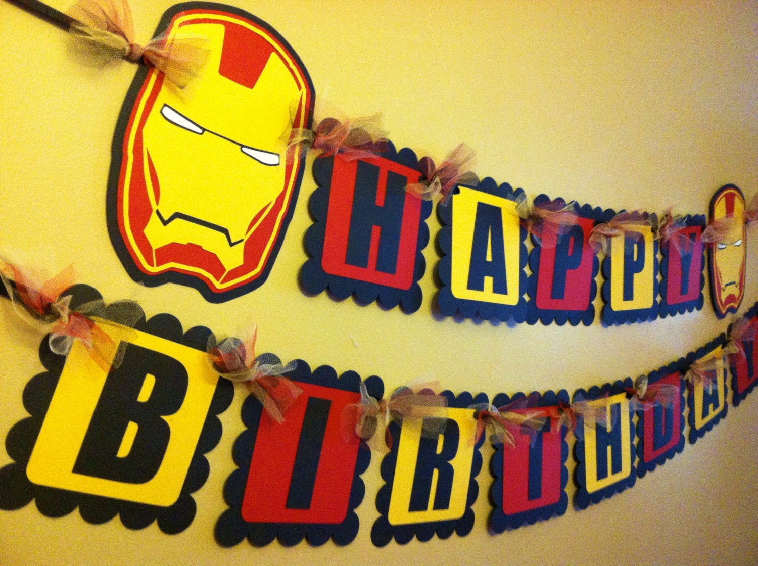 Homemade Iron Man Birthday Cake Design : Iron Man Inspired Happy Birthday Banner by PaperPiecingDreams