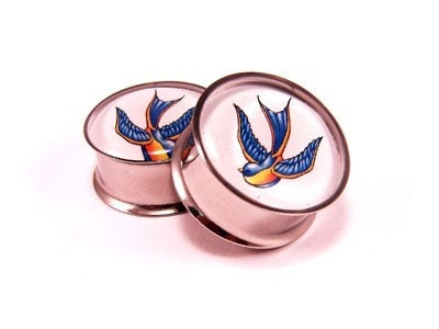 Swallows Picture Plugs gauges - 00g, 1/2, 9/16, 5/8, 3/4, 7/8, 1 inch