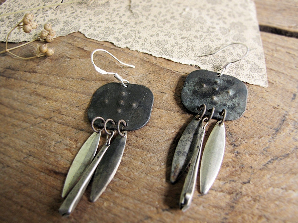 Iron City - assemblage metal earrings - tribal sci fi - primitive modern