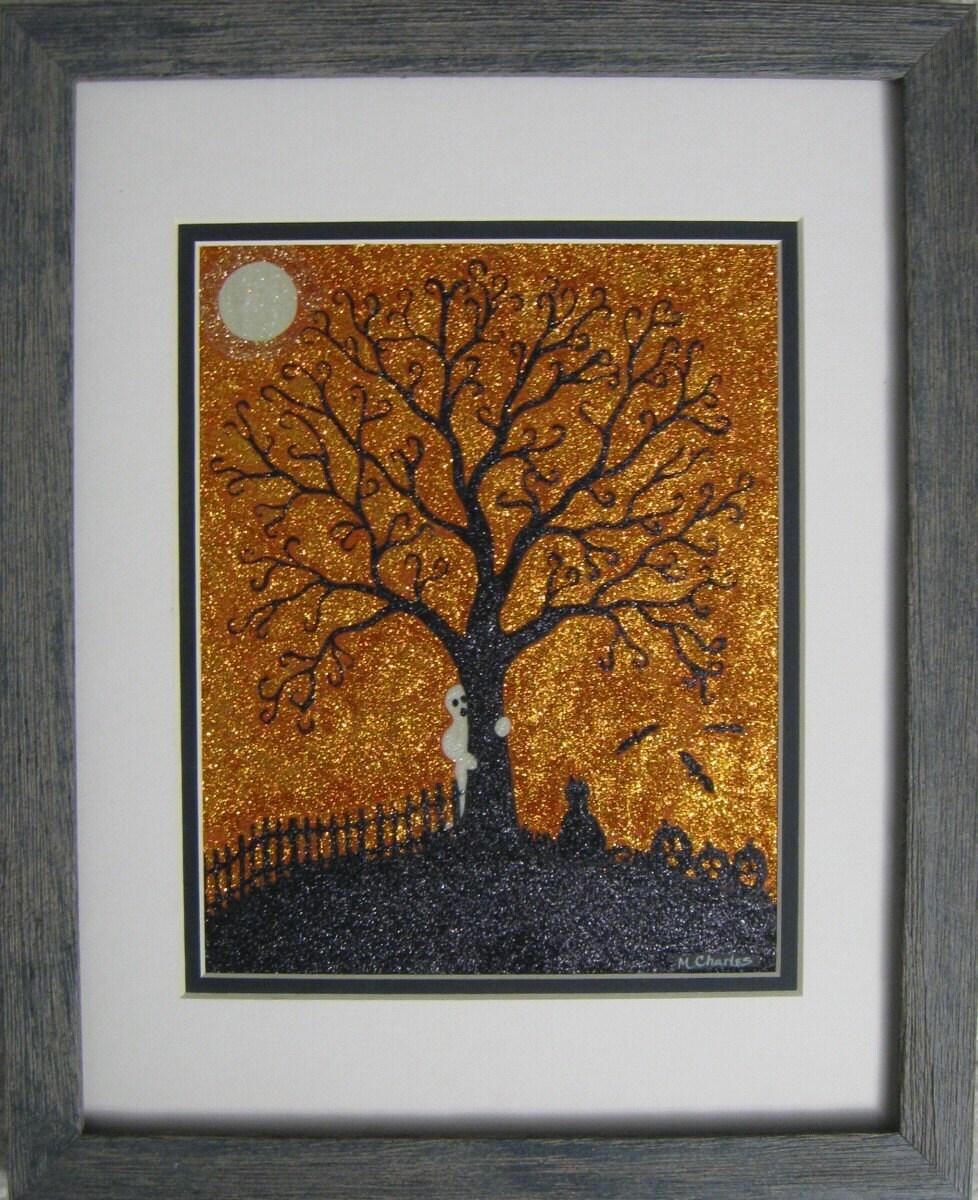OOAK Original Acrylic Folk Art Painting Cat Ghost Pumpkins