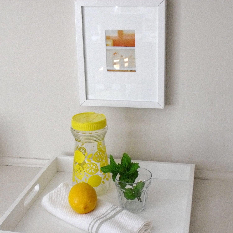 Vintage Retro Glass Pitcher Mixer Lemon Yellow SALE