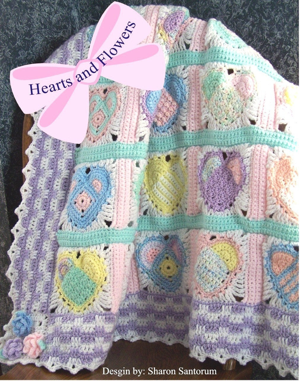 Baby Zoo Afghan Crochet Pattern : Hearts and Flowers Baby Afghan or Blanket Crochet by ...