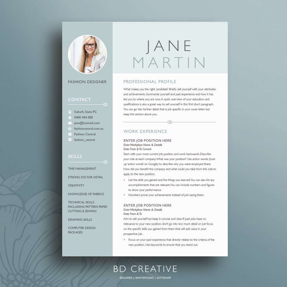 template of resume for job