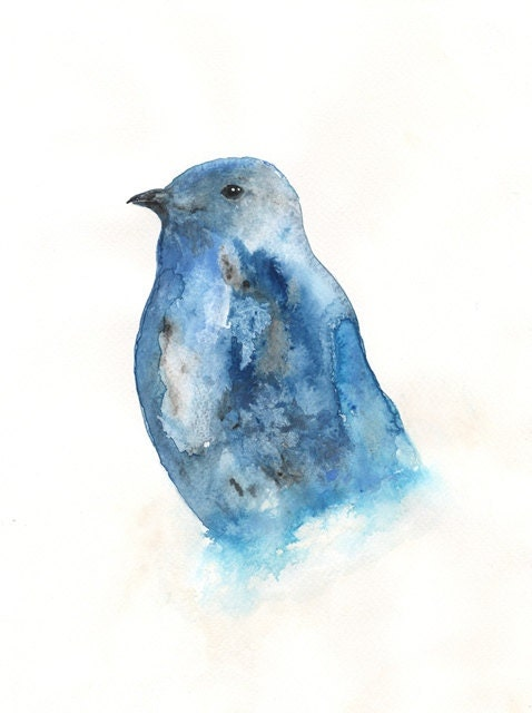 Blue Bird 8x10 Watercolor Print