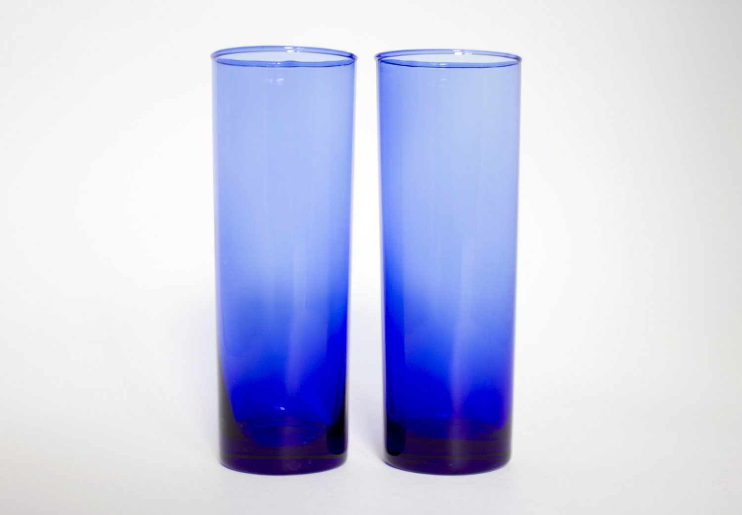 Vintage Blue Cobalt Tom Collins Glassware Set - merrimentvintage