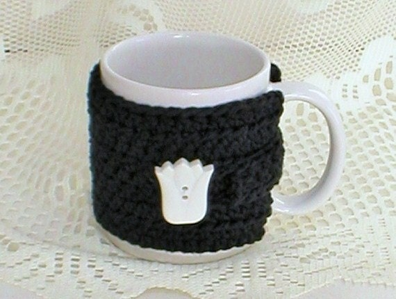 Ebony Black Mug Cozy With A White Spring Tulip Button Crocheted For Tea Coffee Lovers