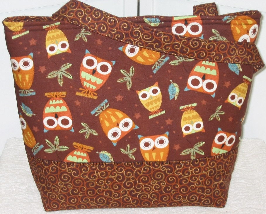 Brown Owls On A Whim Large Tote / Diaper Bag Ready To Ship