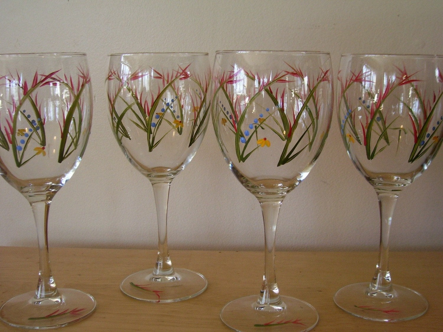 hand painted wine glasses wild flowers set of 4 by snakey7