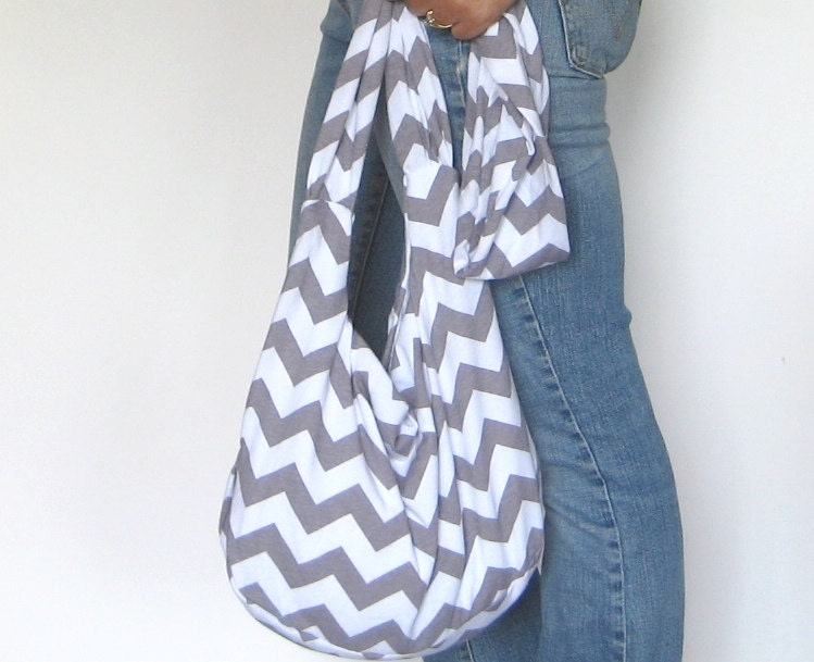 Hobo Bag. Sling Purse. Chevron Gray and White. Choose Interior Knit ...