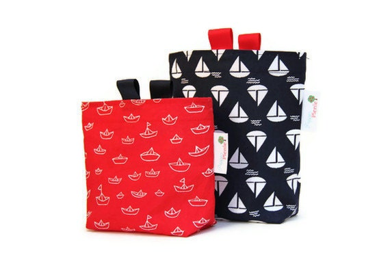 Reusable Sandwich and Snack Bag Set, Gusset Bottom and Finger Tabs, Back to School, Nautical, Red and Navy Blue with White Sailboats - Pepperpicnic