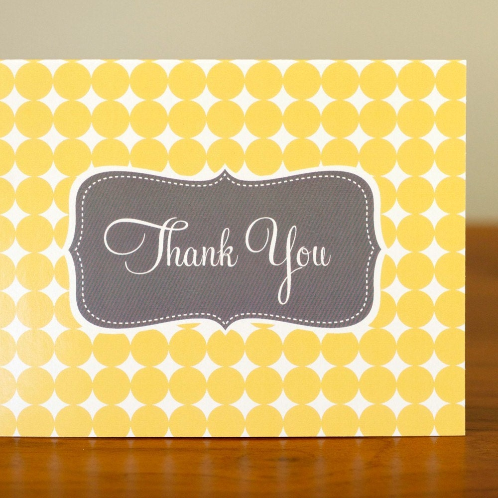 Singles - 1 Bright Yellow and Gray Sweet Thank You Card - Tabitha