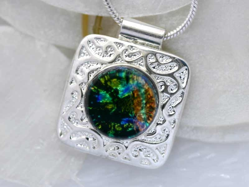 Dichroic  Glass Necklace 00884 - Dichroic Jewelry,  Dichoric Fused Glass Pendant, Fused Glass Necklace - GetGlassy