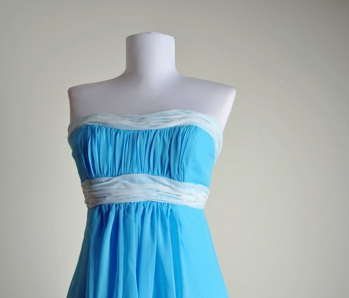 here comes mary vintage strapless ruched chiffon party dress s
