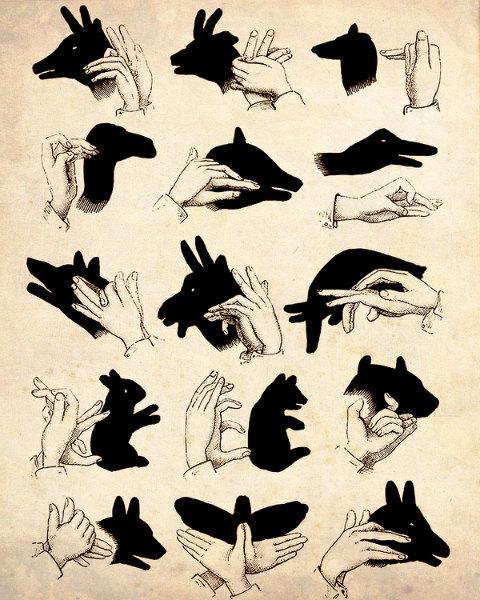 "Иллюстрация Vintage ""Shadow Puppets"" Античный печати Силуэт"
