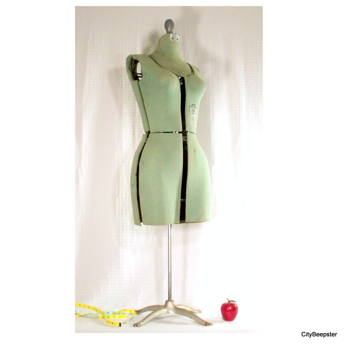 In Rare Form - Vintage Sewing Mannequin - Dress Form - Adjustable - Mint Green - Dress Rite - Clothing Jewelry Scarf Display -