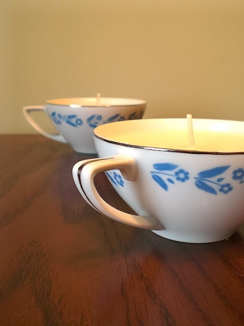 Lavender and Vanilla Soy Teacup Set OOAK, relaxing, romantic, soft, gift for her