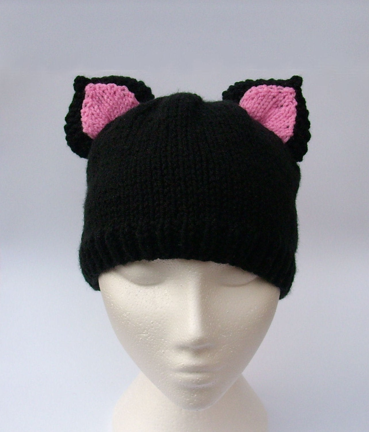 Knitting Pattern Kitty Cat Hat : Knitted Cat hat with ears Handmade knitted Kitty Cat by jarg0n Craftjuice H...