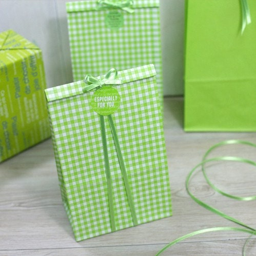 10 Green and White Check Paper Bag