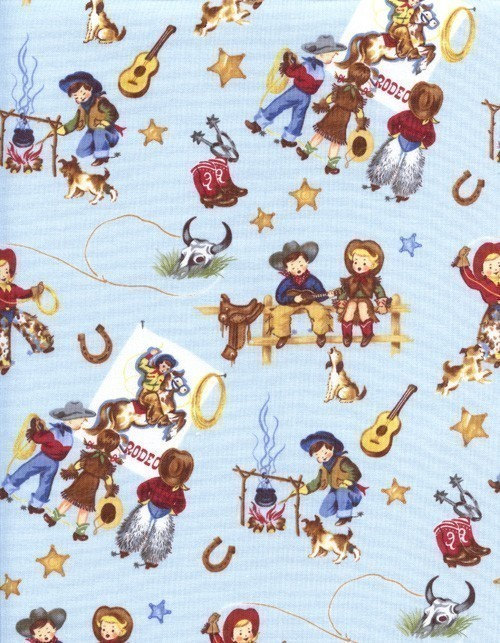 Retro yippee cowboy cowgirl pony horse fabric rare ebay for Horse fabric for kids