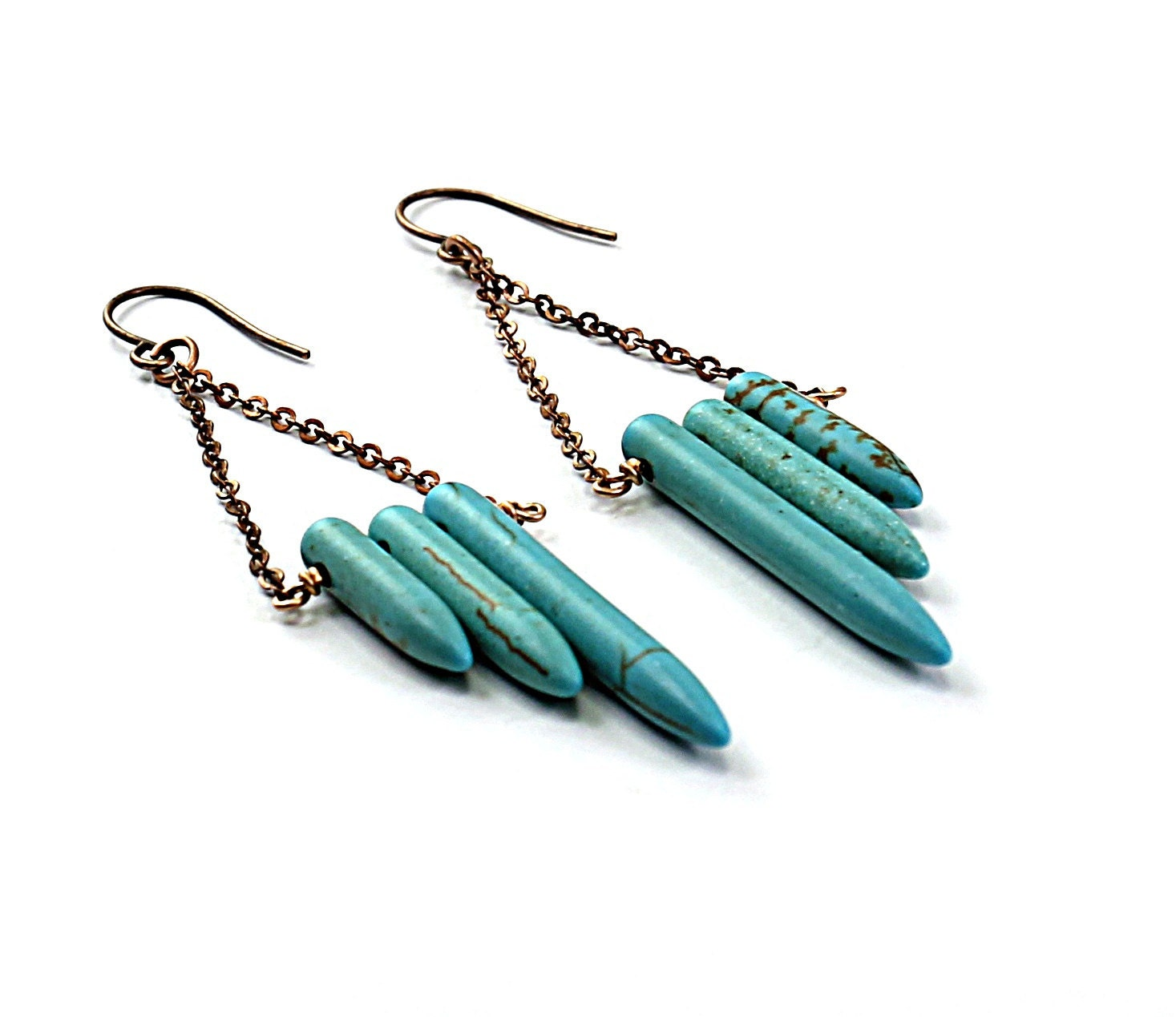 Turquoise earrings: blue earrings, inspired by native american earrings brass chain long earrings ethnic jewelry - NatureLook
