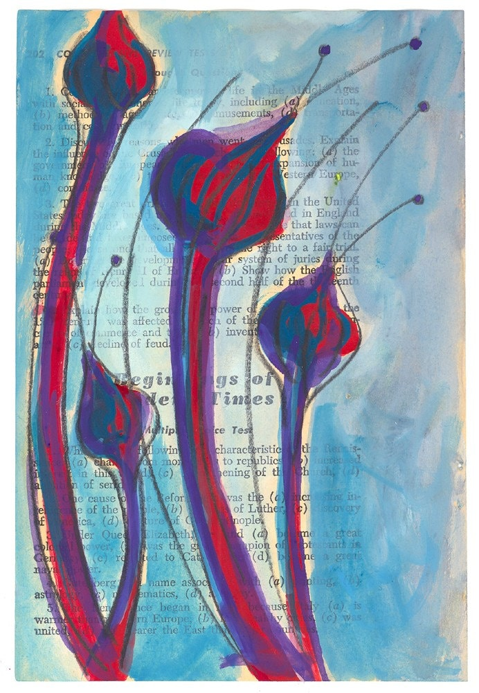 Blue Cattails - Original Painting on Antique Book Paper