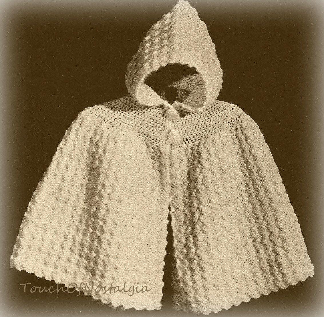 Free Vintage Crochet Cape Patterns : Crochet Baby HOODED CAPE vintage Crochet by touchofnostalgia7