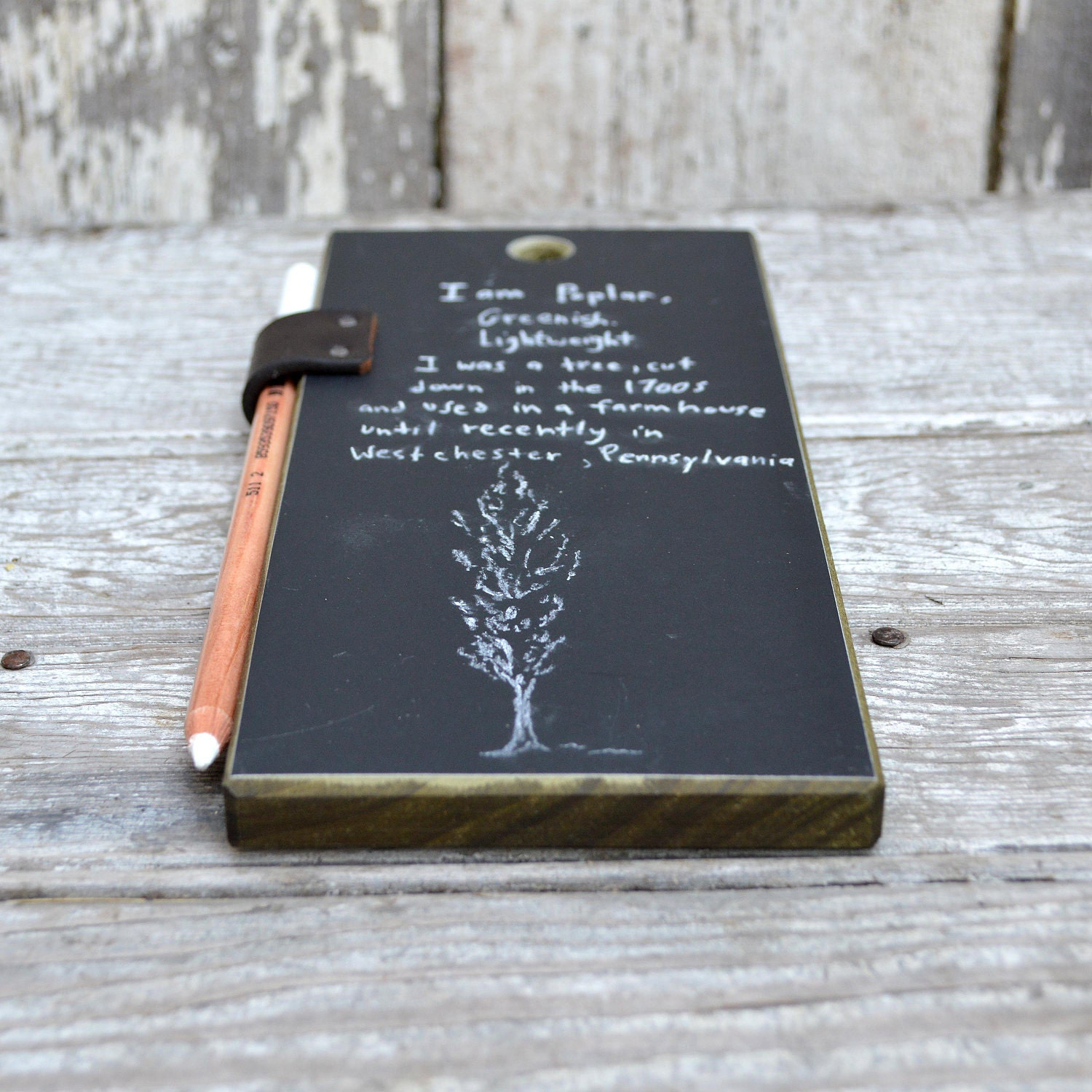 Chalkboard Tablet: Reclaimed Poplar and leather. - PegandAwl