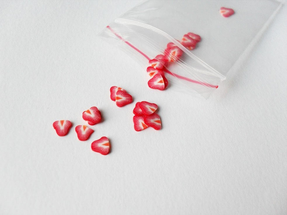 Strawberry Polymer Clay Fruit slices - 65 pcs