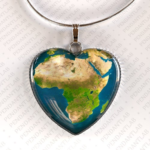 Africa Heart Pendant Earth Necklace World Map Map by PendantLab