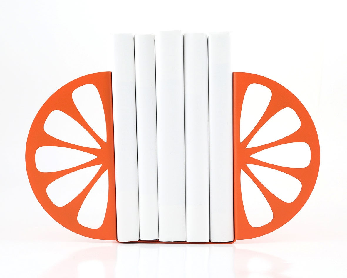 Bookends - Orange - laser cut for precision these metal bookends will hold your favorite cookbooks or books - DesignAtelierArticle