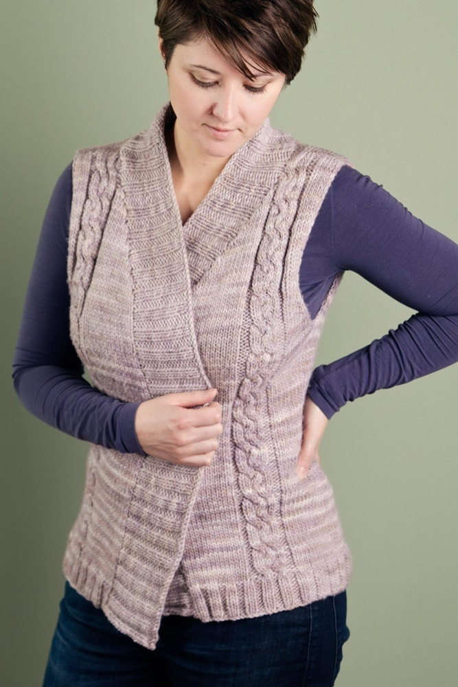 Knitting Pattern For Shawl Collar Vest : Items similar to KNITTING PATTERN PDF for Adult Cabled Vest with ribbed shawl...