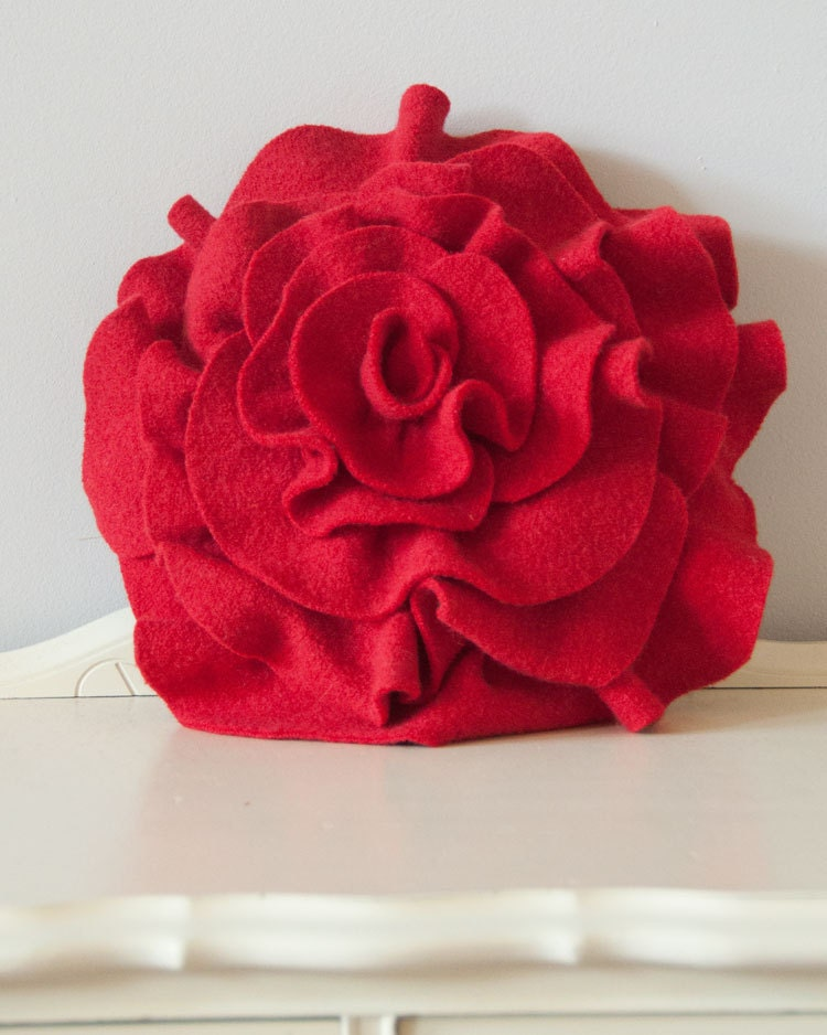 Red Rose Pillow for Valentine's Day gift by Angella Eisman Design. As seen on Daily Candy, Apartment Therapy, and more.