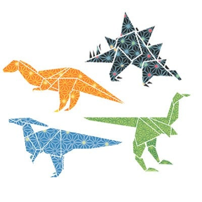 Origami dinosaur set patterned