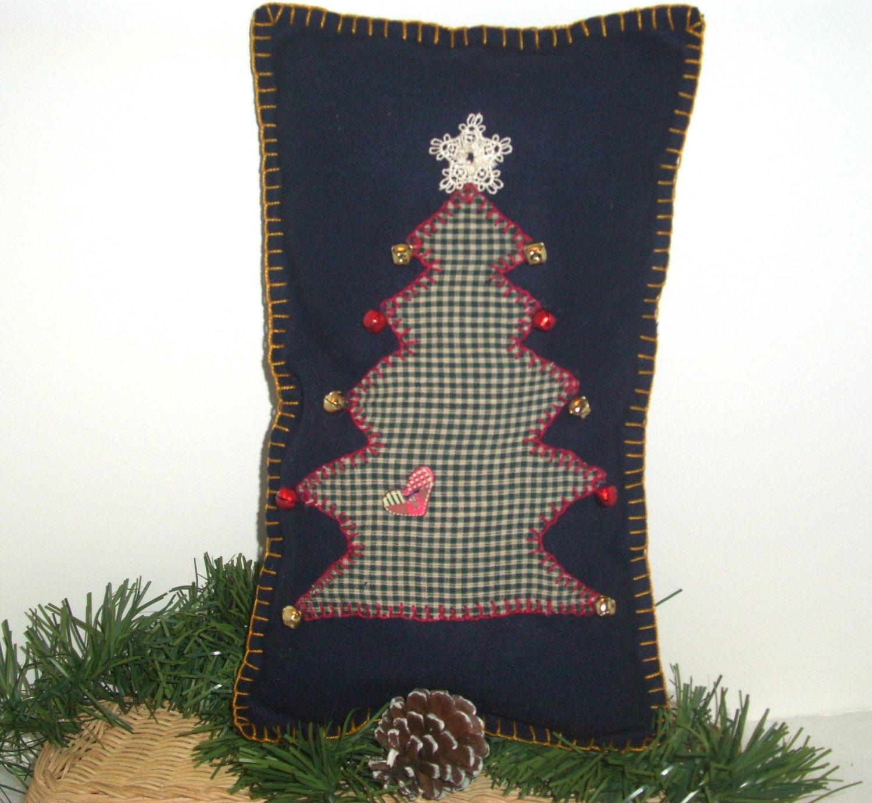 CHRISTMAS OOAK Folk Art Shelf Pillow, Handmade, Christmas Tree, Navy Blue Wool,Green, Red Bells, Gold Bells - ShopOfCraftsByMyrna