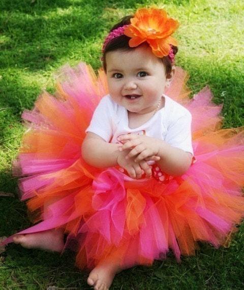 Baby Tutu Toddler Girl Tutu Pink Orange Tutu By Trinitystutus