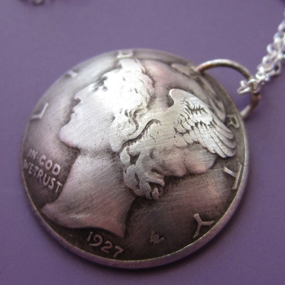 mercury dime necklace by sudlow on etsy