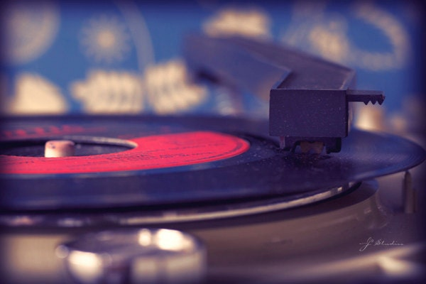 My Old Records, 5x7, Fine Art Photography Print, 45 rpm Single Record Player Phonograph Vintage Oldie 70s - j2studiosphotography