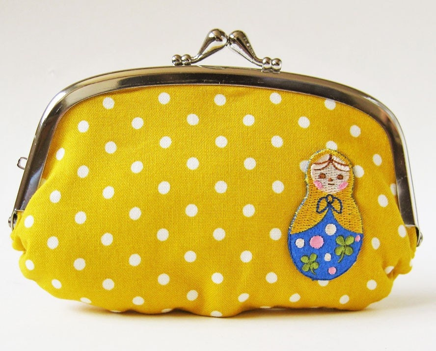 Coin purse/wallet - matryoshka on yellow polka dot